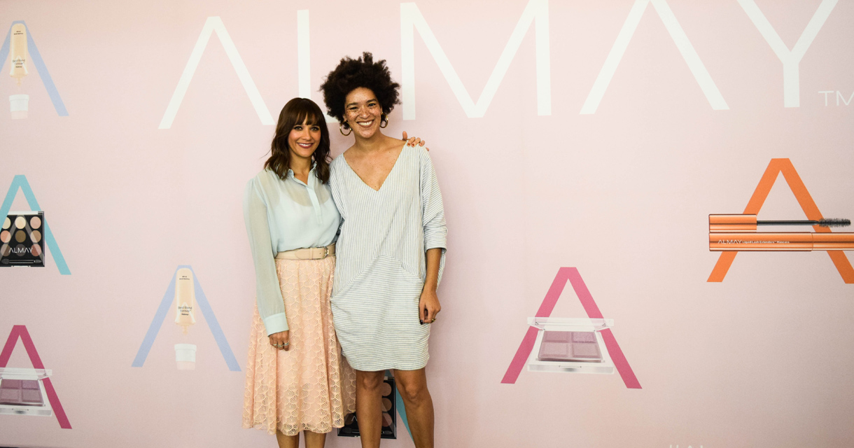 rashida jones almay product launch pop up photo op