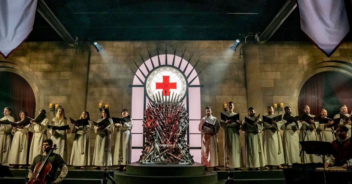 choir singing at the bleed for the throne game of thrones pop up experience