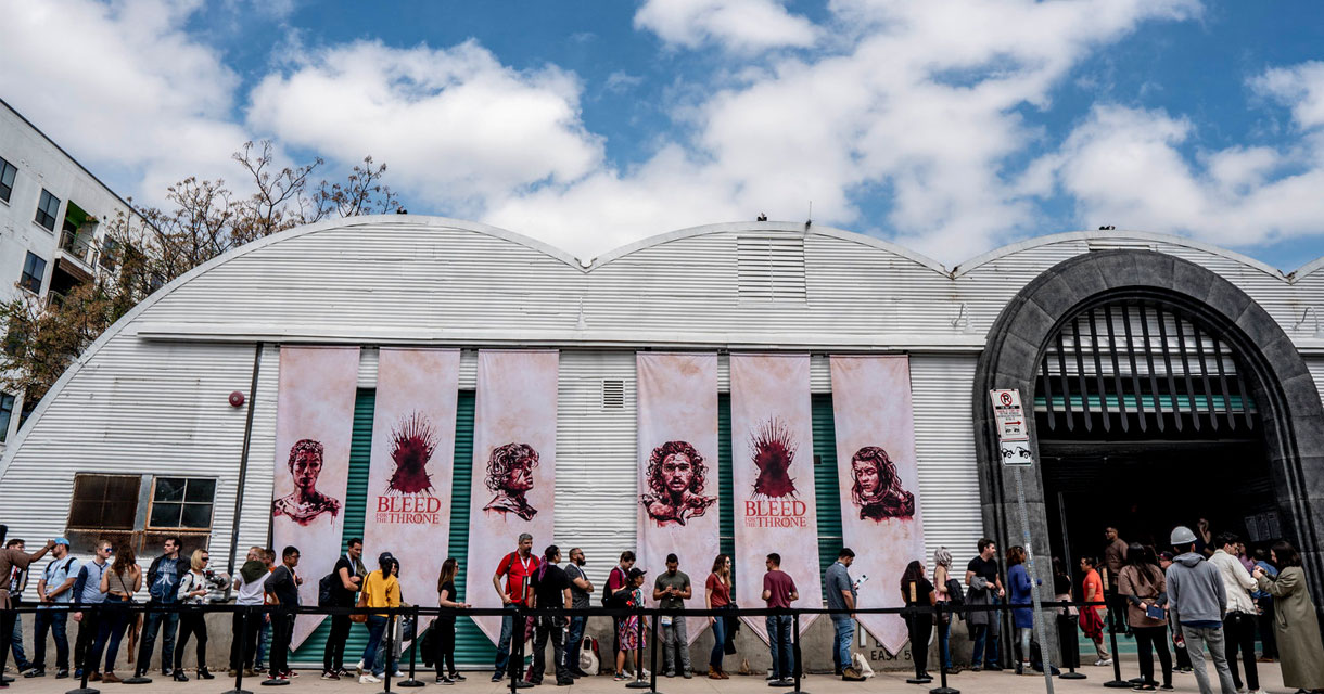 exterior of the game of thrones bleed for the throne pop up experience