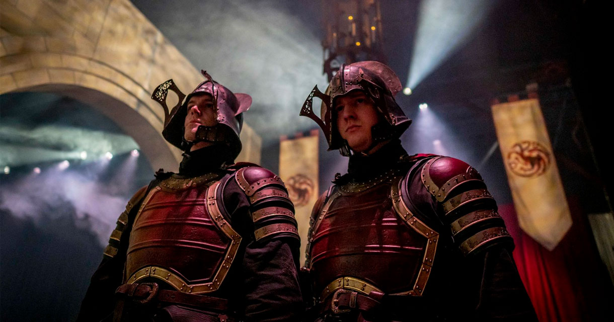 men dressed as knights at the bleed for the throne pop up experience
