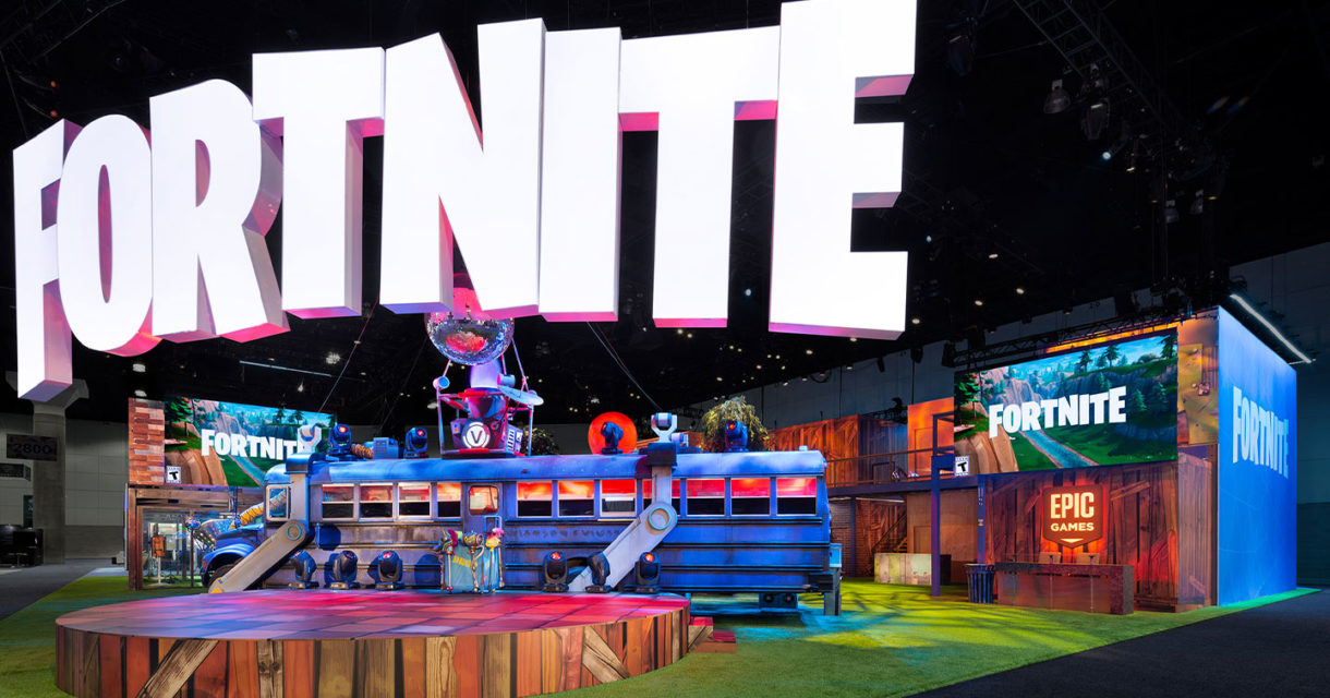 epic games fortnite e3 2018 trade show exhibit esports fgpg fortnite hanging sign stage battlebus