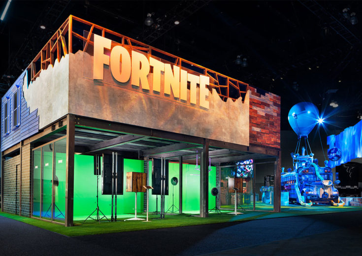 epic games fortnite e3 2018 trade show exhibit esports fgpg illuminated booth