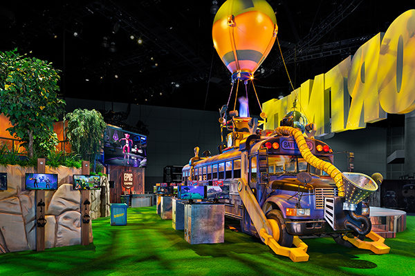 fortnite e3 battlebus esports gaming stations fgpg experiential trade show exhibit