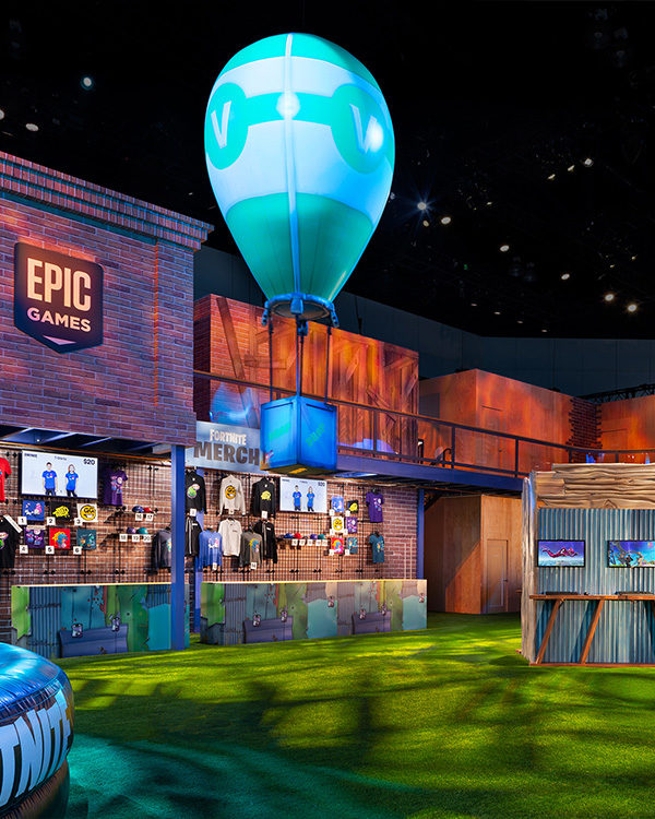 fortnite e3 booth esports merch store gaming demos supply drop secenic production
