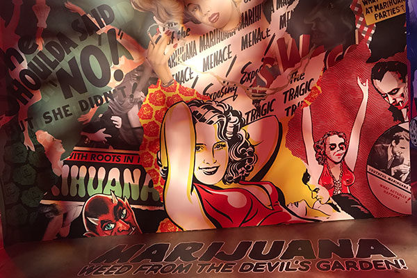 marijuana comic book style mural at museum of weed