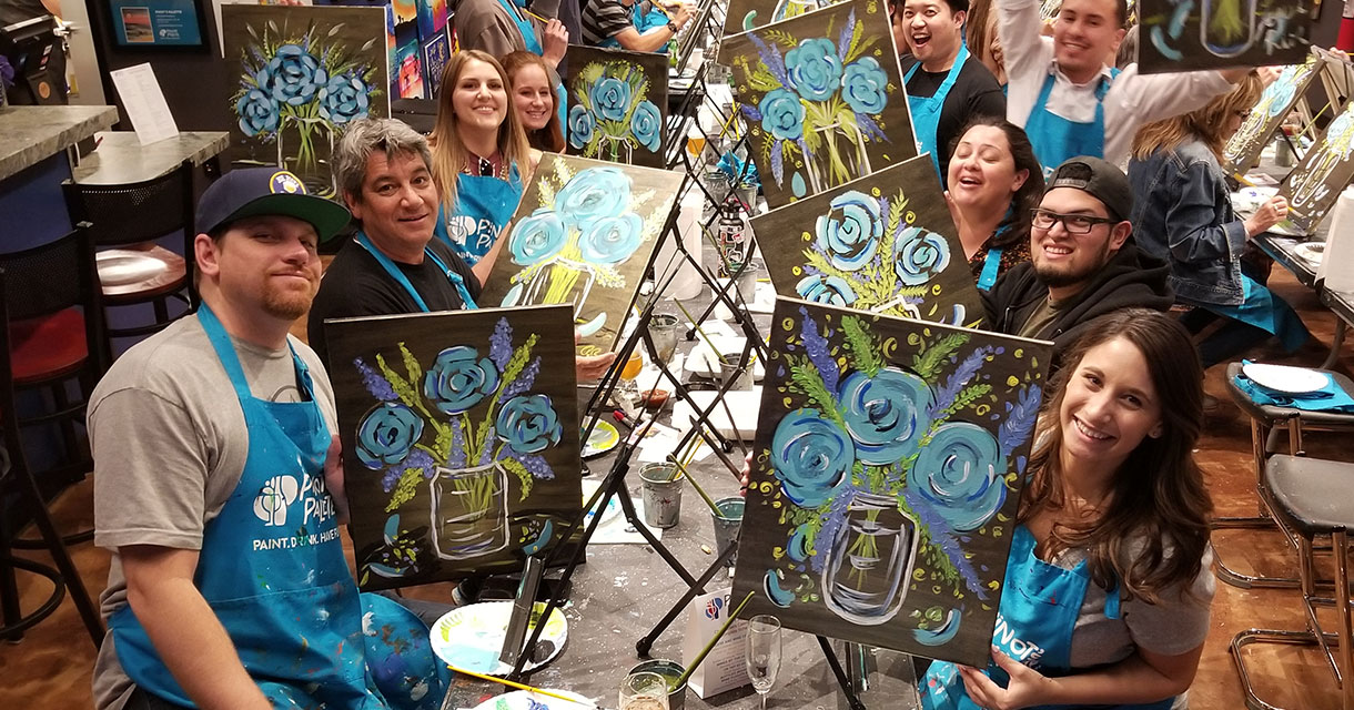 fgpg employees at pinot's palette painting class