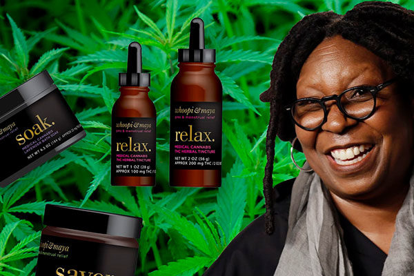 whoopie goldberg in front of marijuana leaves with cbs products