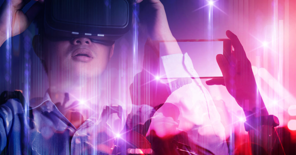 live concert event overlayed with an image of a person wearing a virtual reality headset