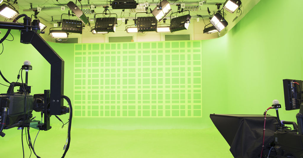 Green screen broadcast stage with cameras