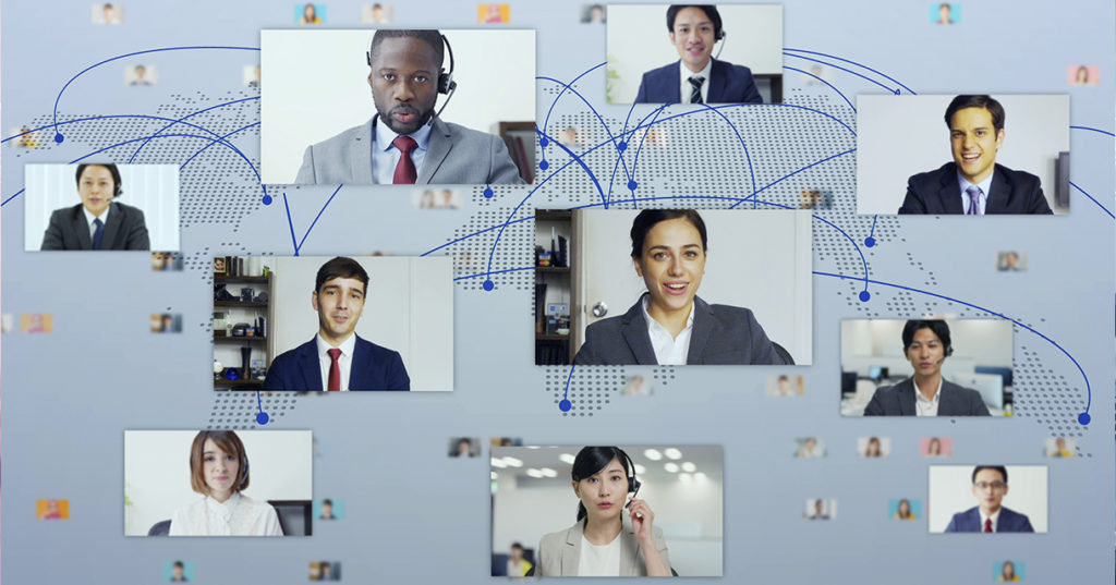A mock-up of several people on a conference call