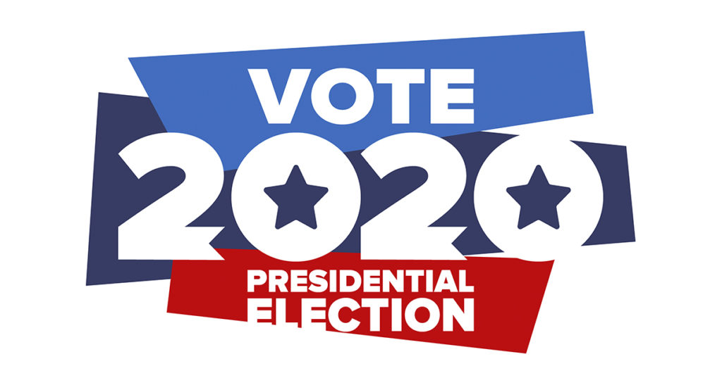 "Stylized logo reading ""Vote 2020 Presidential Election"""