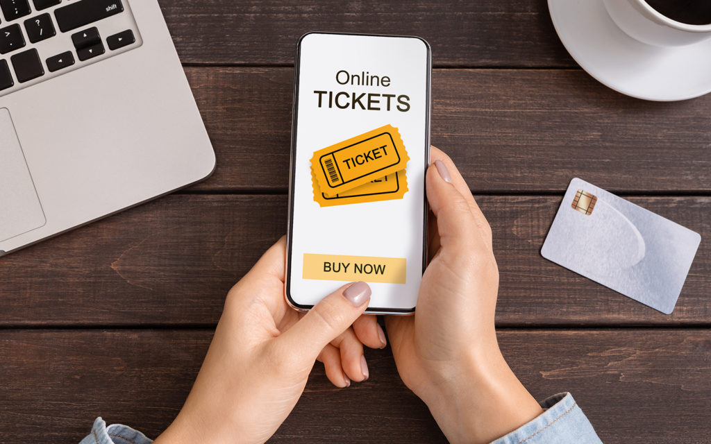 Smart phone showing online tickets for purchase
