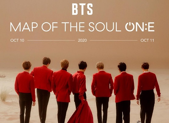 Promotional poster of BTS's Map of the Soul ON:E virtual concert.